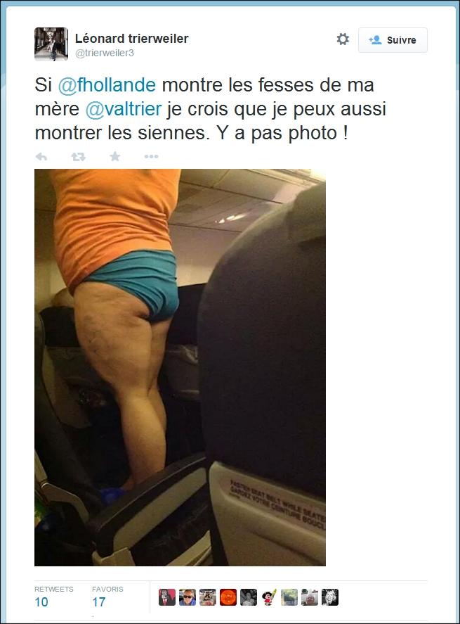 Le fils de Valérie Trierweiler publie à son tour une photo des fesses de François Hollande