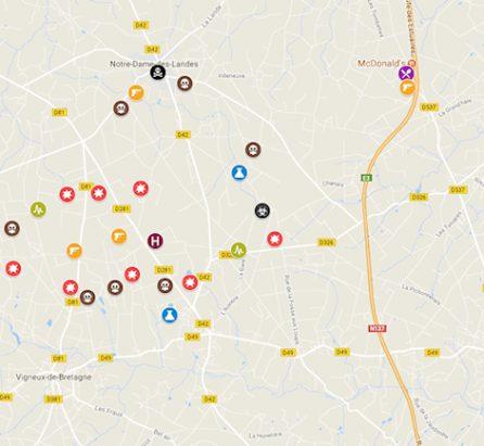 Google publie une carte des pièges installés par les Zadistes à Notre-Dame des Landes
